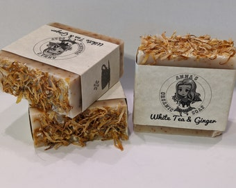 White Tea and Ginger Handmade Exfoliating Soap
