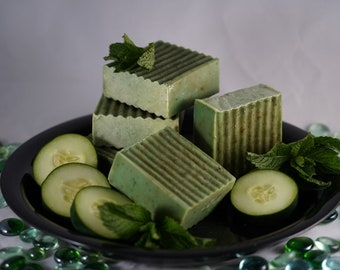 Cucumber Mint Soap Bar, Spearmint, All Natural, Relaxing, Handcrafted Naturally Cooling, Exfoliation. Palm Free!
