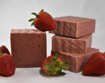 Summer Strawberry Exfoliating Handmade Organic Soap; Made with Local Strawberries!