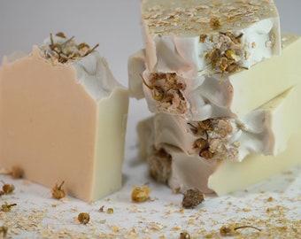 Oatmeal Chamomile Soap Bar, Organic, Gentle, Exfoliating, Unscented Organic. Vegan, Coconut Free!