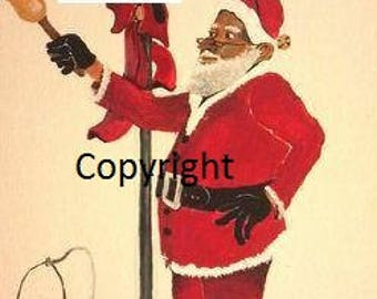 Santa's Bell - Set of 6 assorted African American Christmas Cards