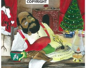 Santa's Nod- Set of 6 Assorted African American Christmas Cards