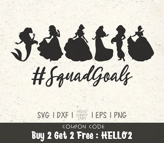 Princess Squad Goals Svg Disney Princess Clipart Svg Files For Etsy