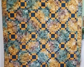 Modern Batik Quilt, Country or Cabin Quilt, Green and Gold Quilt, Handmade Full Size Quilt, Man or Woman's Quilt