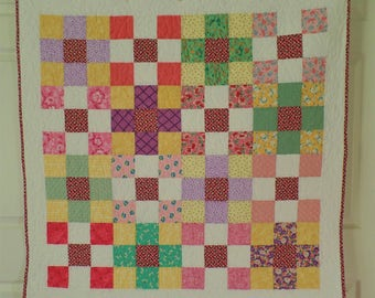 Baby Quilt, Patchwork Quilt, Thirties Quilt, Rainbow Quilt, Baby Bedding, Baby Shower Gift