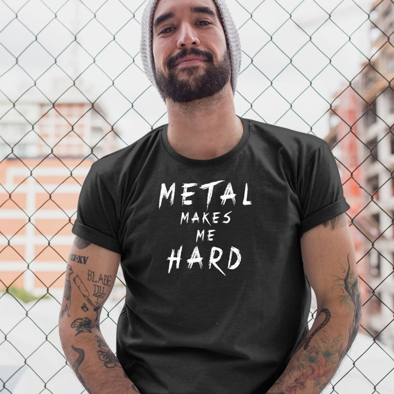 Metal Makes Me Hard Devil Horns Vintage Distressed Heavy Metal Rules Funny
