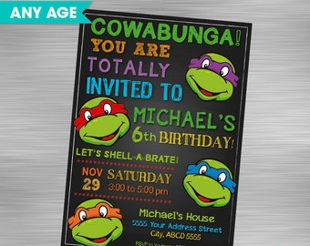 Ninja Turtle Invitation Etsy