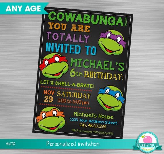 Ninja Turtles Invitation Turtles Invitation Teenage Mutant Etsy