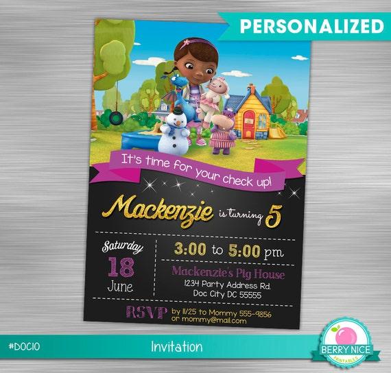 Doc Mcstuffins Invitation Birthday Party Printable McStuffins Invite DIY