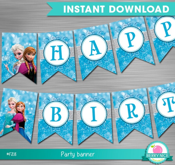 Frozen Birthday Banner Printable Frozen Banner Party By: Frozen Banner Instant Download Frozen Party Banner Frozen