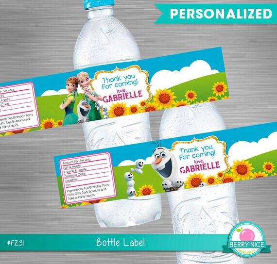 photo regarding Frozen Printable Labels identify FROZEN FEVER drinking water bottle labels print your self, Frozen