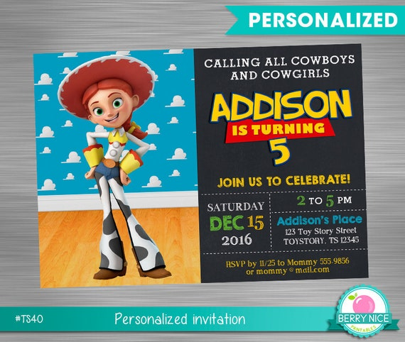 Toy Story Jessie Print Yourself Invitation Toy Story Jessie