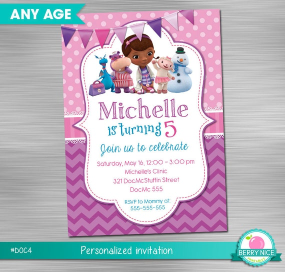 image relating to Doc Mcstuffins Printable Invitations identified as Document Mcstuffins Invitation Print You, Document Mcstuffins
