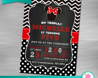 Minnie Mouse Invitation, Minnie Mouse Printable Invitation, Minnie Mouse Print Yourself Invitation, Minnie Mouse Birthday, Minnie Mouse