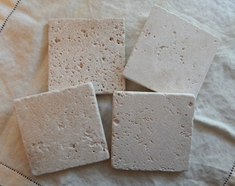 Plain Natural Stone Coasters , Travertine Coasters [Set of 4] - Great Housewarming Gift!