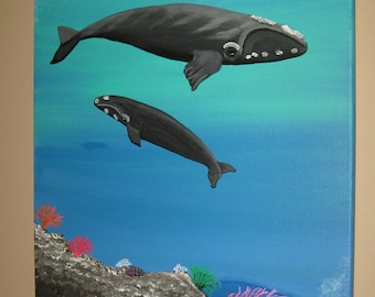 Whale Art Whale Painting On Sale Coral Reef Whales Right Whales Hand Painted Whales Beach Decor