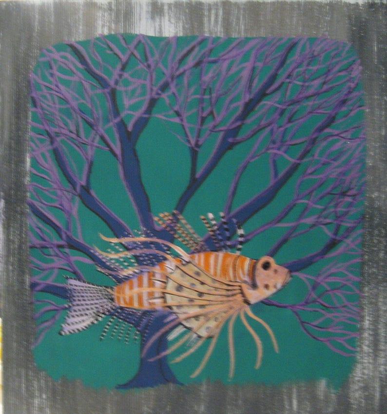 Poisson Papillon Peinture Bois Flotté Art Bois Flotté Peinture   Etsy