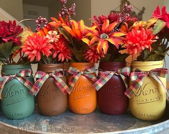 Fall Mason Jars Thanksgiving Decor Wedding Centerpieces Etsy