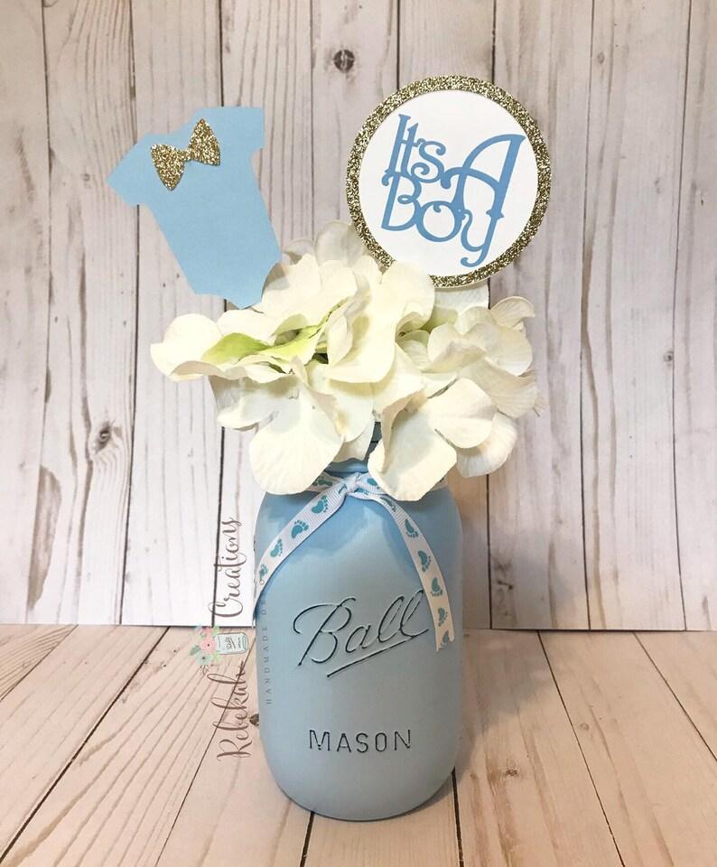 Baby Shower Blue Mason Jars, Baby Blue Mason Jars, Baby Shower Decor,  Rustic Baby Shower, It's a Boy Decor, Blue Mason Jars, Baby Boy Shower
