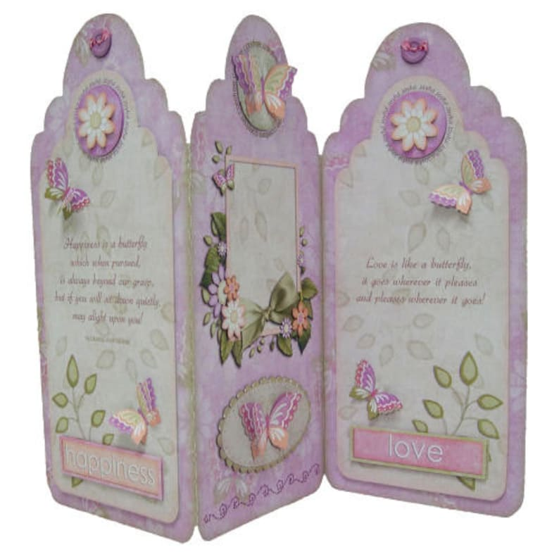 Any Occasion Butterfly Tag Shaped Tri-Fold Card Hand Crafted 3D Decoupage Happiness Love Butterflies Flowers Ideal Mother/'s Day Card Mum