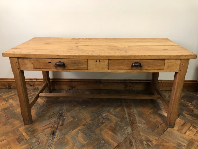 Stupendous Antique Pine Two Drawer Farmhouse Dairy Table Download Free Architecture Designs Embacsunscenecom