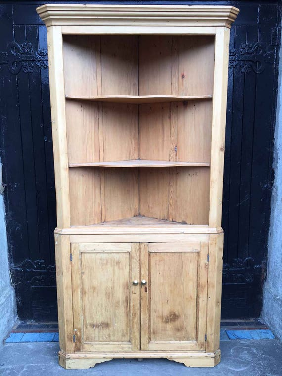 image 0 - Antique Stripped Pine Corner Cupboard With Open Top Etsy