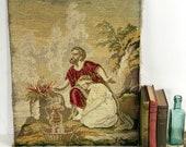 Vintage Woolwork Bible Scene, Unframed