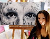 Yin and yang- Original Oil Painting on Canvas 100x50cm - Man Tattooed Deep Look - Black and White Eyes