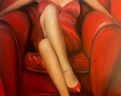 Seduction - Elegant sensual art - Woman dress red sitting- Fetish red heels - Erotic oil painting 45x33cm