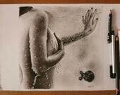 The Shower - Original Artwork Erotic Art Graphite on Sheet Paper Canson White A4, Unique Piece - in Shower