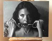 Rompiendo Cadenas - Obra original, Media Mixta sobre Lienzo 65x81cm - Feminismo - Empoderamiento - Violencia de Género