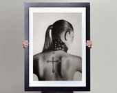 The Complement - Erotic Drawing Tattooed Woman - Pencil on Paper