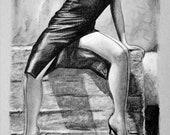 Dead End-Kinky Erotic Art Sheet - Hand Drawing Graphite Pencil on Grey Sheet 160gr 29x21cm - Eroticism