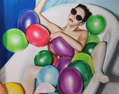 Color Bath - Large Original Hand Painted Box - Oil on Canvas - Funny Painting Colored Balloons 100x81cm-39.4 x 31.8 Inches