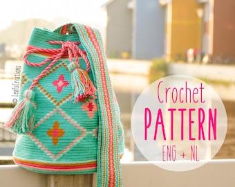 Crochet pattern Mochila bag with flowers Mochila crochet pattern Tapestry crochet pattern English & Dutch