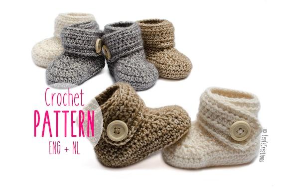Baby Booties Haakpatroon Baby Boots Baby Schoentjes Met 4 Etsy