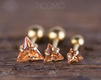 Triangle Zircon 16G Triple Cartilage Piercing Helix Piercing Tragus Earring Tragus Piercing