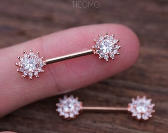 Nipple Ring Nipple Piercing Nipple Jewelry Nipple barbell Zircon Flower  Rose Gold 0e90543244a3
