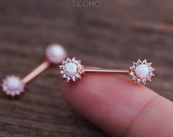 Nipple Ring Nipple Piercing Nipple Jewelry Nipple barbell White Fire Opal  Zircon Flower Rose Gold eb3d94d939b0