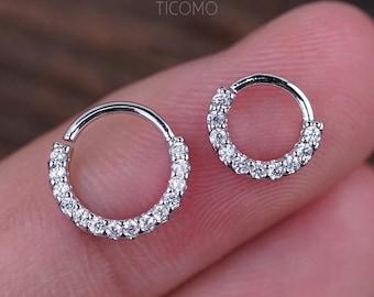 Daith Piercing Hoop Daith Hoop Earring Small Hoop Earrings Septum Ring Septum Piercing Rook Piercing Clear Zircon