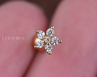 Cartilage earring 16g Helix earring Helix piercing Tragus Earring Tragus Piercing Cartilage piercing Conch piercing Gold Flower Zircon
