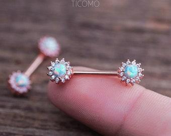 Nipple Ring Nipple Piercing Nipple Jewelry Nipple barbell Green Fire Opal Zircon Flower Rose Gold