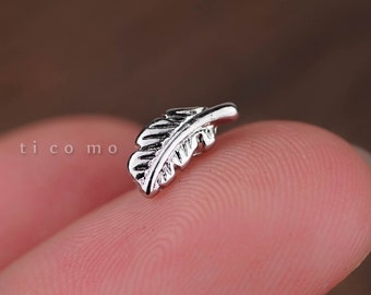 Cartilage earring 16g Tragus earring Helix earring Helix piercing Tragus stud Cartilage piercing Conch piercing Feather