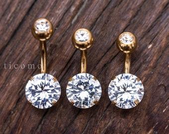 Belly Ring Belly Button Ring Belly Button Jewelry Zircon Short Bar 6 8 10 mm
