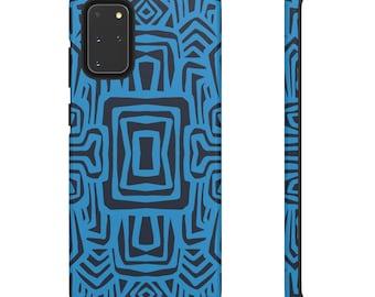 Blue tribal Print Phone Case - Black and Blue Phone Case - Hard Phone Case - Patterned Phone Case - Colorful iPhone Case - Samsung Case