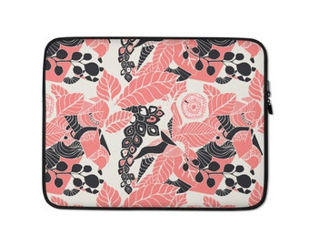 Coral Pink Floral Print Laptop Sleeve - Macbook 13 inch laptop sleeve - 15 inch HP laptop sleeve - Chromebook - laptop case - laptop cover