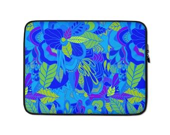 Blue Floral Print Laptop Sleeve - Macbook 13-in laptop sleeve - 15-in HP laptop sleeve - Chromebook - Neoprene - laptop case - laptop cover