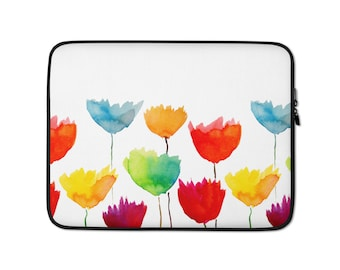 Abstract Watercolor Floral Print Laptop Sleeve - Macbook 13-in laptop sleeve - 15-in HP laptop sleeve - Neoprene - laptop case -laptop cover