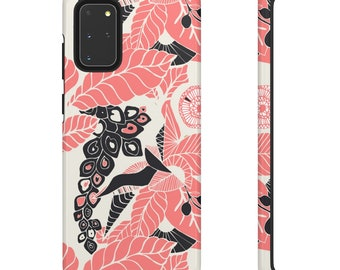 Coral Pink Floral Print Phone Case - Pink and White Phone Case - Hard Phone Case - Patterned Phone Case - Colorful iPhone Case- Samsung Case