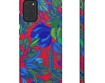 Red Floral Print Phone Case - Red and Green Phone Case - Hard Phone Case - Patterned Phone Case - Colorful iPhone Case - Samsung Phone Case